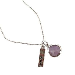 Amethyst pendant with Peace charm, rhodium plated